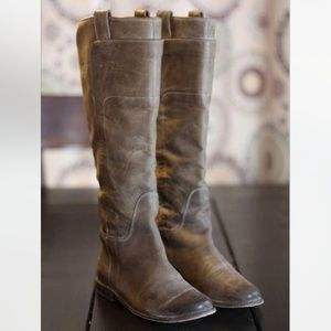 Frye Paige Tall Leather Gray Riding Boots 7.5